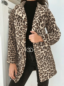 Leopard Animal Print Slim Lapel Fall Women's Overcoat