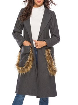 Pocket Faux Fur Wrapped Notched Lapel Long Women's Overcoat