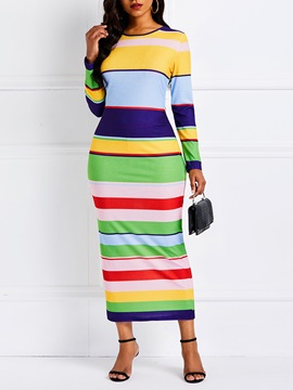 Long Sleeve Patchwork Pullover Women's Bodycon Dress