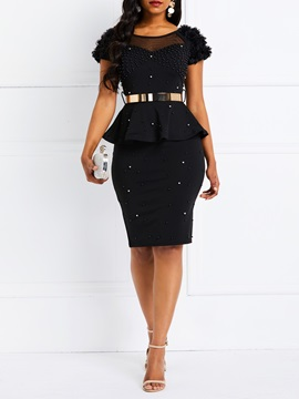 Knee-Length Round Neck Western Patchwork Women's Bodycon Dress