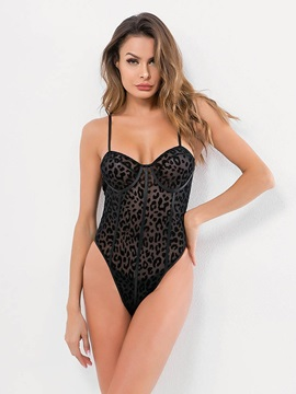 Leopard See-Through Sleeveless Sexy Teddy