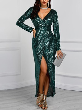 Sequins V-Neck Ankle-Length Regular Summer Women's Maxi Dress