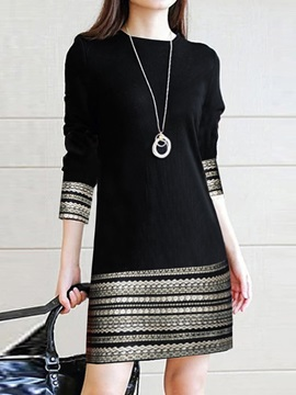 Long Sleeve Print Spring Regular Women's Casual Dress