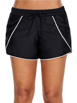 Beach Look Lace-Up Black Board Shorts