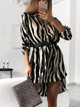 Above Knee Long Sleeve Zebra-Stripe Women's Casual Dress
