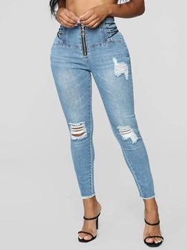 Plain Lace-Up High Waist Slim Zipper Women's Jeans