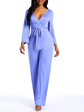 Lace-Up Full Length Plain Straight Slim Women's Jumpsuit