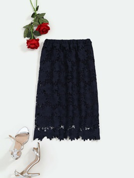 Knee-Length A-Line Hollow Lace Women's Skirt