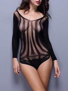 Stripe Backless See-Through Long Sleeve Nylon Teddy