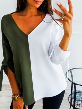 V-Neck Standard Color Block Spring Loose Women's T-Shirt
