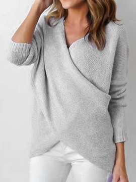 Loose V Neck Long Sleeve Women's Sweater