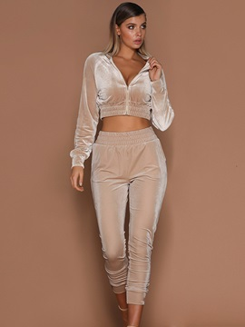 Plain Ankle Length Pants Zipper Jacket Women's Two Piece Set