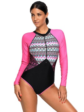 Color Block Patchwork Long Sleeve One Piece Swimwear