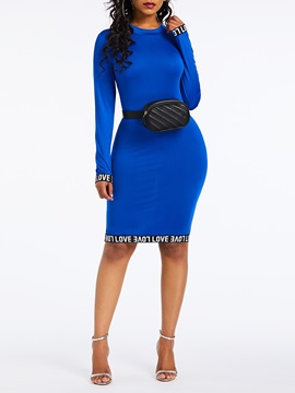 Round Neck Patchwork Knee-Length Pullover Women's Bodycon Dress