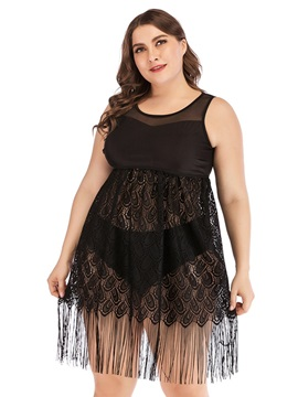 Plus Size Hollow Tankini Set Black Beach Dress Swimwear