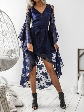 Long Sleeve Casual V-Neck Patchwork Women's Lace Dress