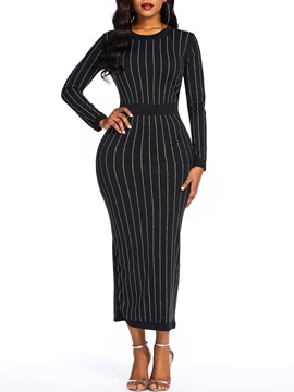 Ankle-Length Long Sleeve Stripe Polyester Women's Bodycon Dress