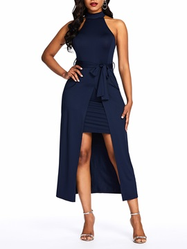 Split Sleeveless Mid-Calf Elegant Plain Women's Bodycon Dress