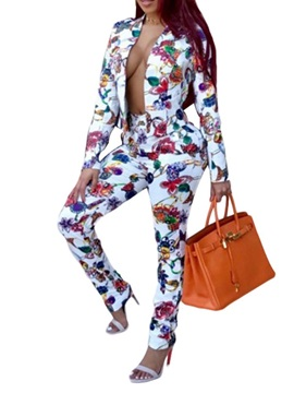 Print Floral Slim Jacket Pants Women's Two Piece Set