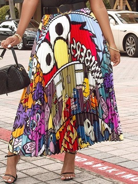 Pleated Cartoon Print Mid Waist Casual Women's Skirt