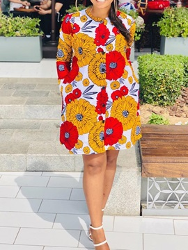 Round Neck Long Sleeve Floral Straight Button Women's Shift Dress