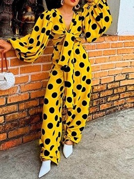 Full Length Lace-Up Polka Dots Wide Legs Loose Women's Jumpsuit