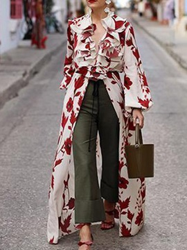 Floral Lantern Sleeve Print Long Sleeve Long Women's Blouse
