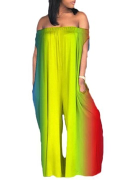 Casual Full Length Gradient Wide Legs Loose Women's Jumpsuit