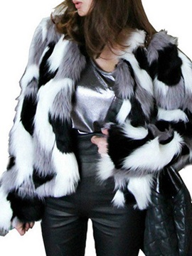 Color Block Winter Loose Women's Faux Fur Overcoat