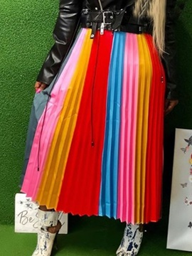 Pleated Color Block Striped Women's Skirt