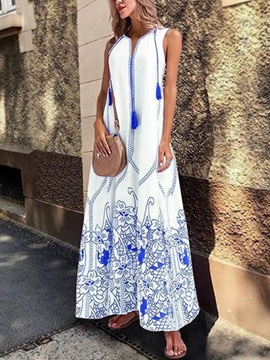 Ankle-Length Print Sleeveless Pullover Polyester Women's Maxi Dress