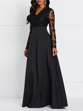 Floor-Length Patchwork High Waist Elegant Women's A-Line Dress