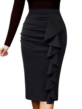 Bodycon Knee-Length Plain Fashion High Waist Women's Skirt