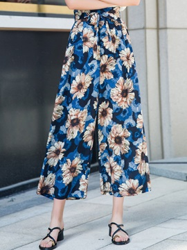 Print Floral Loose Ankle Length High Waist Women's Casual Pants