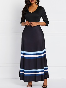 Three-Quarter Sleeve Patchwork Ankle-Length Fall Date Night/Going  Out Women's Dress
