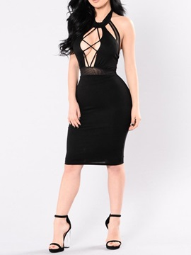 Knee-Length Backless Sleeveless Fashion Halter Women's Bodycon Dress
