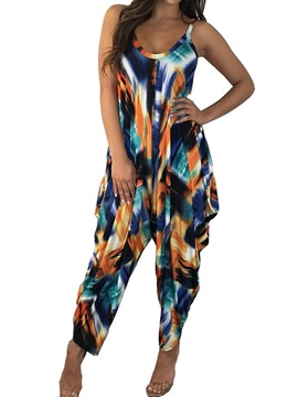 Ankle Length Western Color Block Loose High Waist Women's Jumpsuit