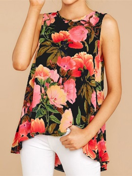 Polyester Print Summer Floral Women's Tank Top