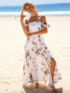 Lace-Up Off Shoulder Strapless Floral Women's Maxi Dress
