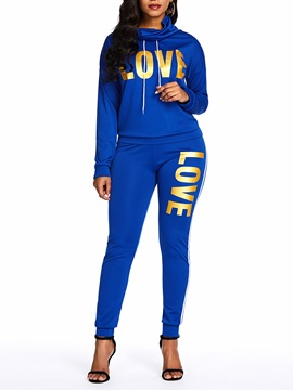 Sports Casual Letter Hoodie Pants Women's Two Piece Set