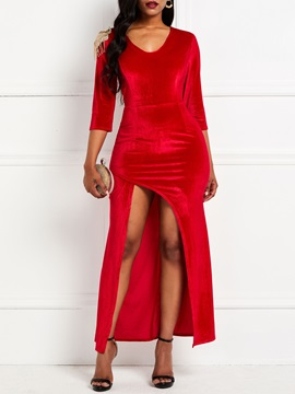 Floor-Length Split 3/4 Sleeve Bodycon Women's Maxi Dress