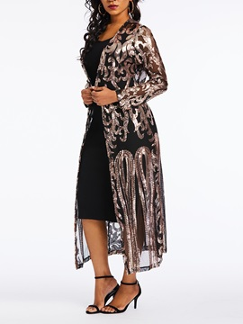 Sequins Plain Long Sleeve See-Through Women's Long Cape