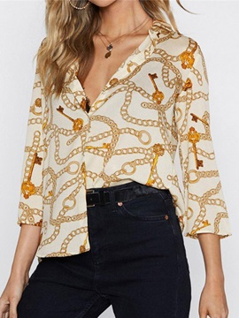 Print Three-Quarter Sleeve Mid-Length Women's Blouse