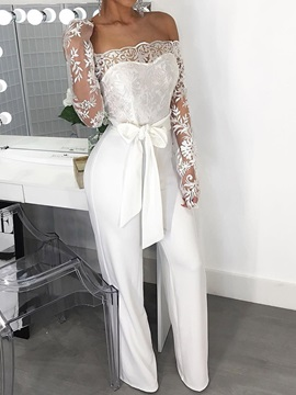 Lace-Up Full Length Plain Slim High Waist Women's Jumpsuit