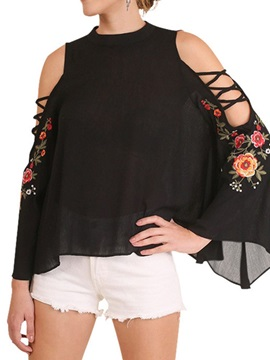 Flare Sleeve Round Neck Floral Cold Shoulder Women's Blouse