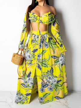 Print Skirt Pullover Off Shoulder Women's Two Piece Set