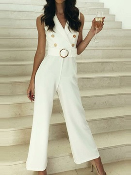 Plain Office Lady Full Length Slim Straight Women's Jumpsuit