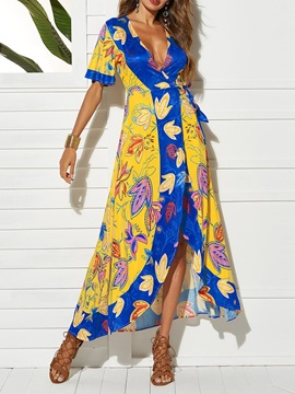 Ankle-Length Casual Short Sleeve Plant Women's Maxi Dress