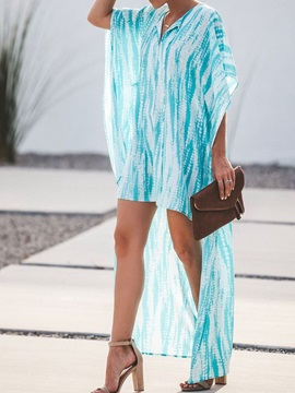 V-Neck Tie-Dye Half-Sleeve Pullover Women's Maxi Dress