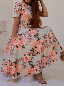 Short Sleeve Print Round Neck Date Night/Going Out Expansion Women's Dress